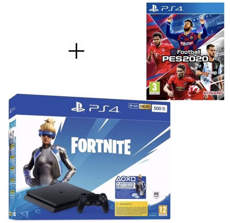 Code promo Cdiscount : Pack PS4 Slim 500 Go Noire + Voucher Fortnite + jeu eFootball PES 2020 à 214,99€