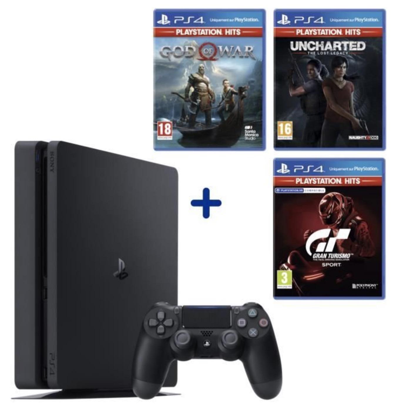 Code promo Cdiscount : Console PS4 500Go Châssis F - Reconditionnée à neuf par Sony + 3 jeux Playstation Hits à 184,99€