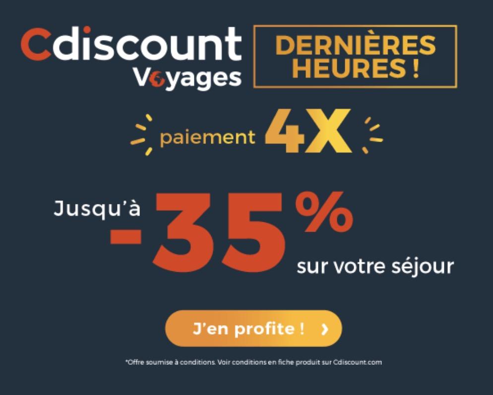 Code promo Cdiscount Voyages : Jusqu'à 35% de remise sur votre séjour à Disneyland Paris + paiement possible en 4x