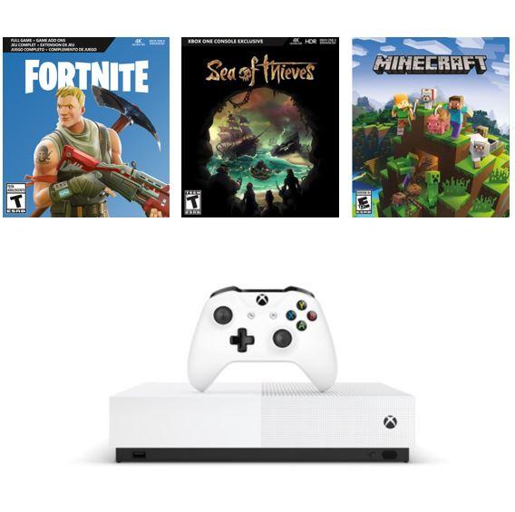 Code promo Cdiscount : Console Xbox One S All Digital 1 To + 3 jeux dématérialisés à 149,99€