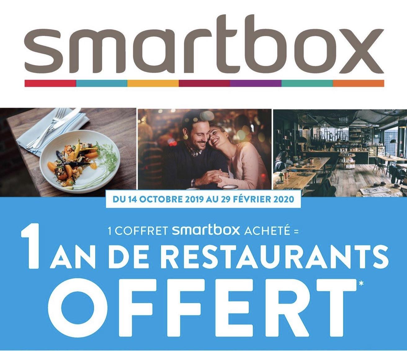 Code promo Fnac : 1 an de restaurant offert dans plus de 3500 restaurants pour l'achat d'un coffret cadeaux Smartbox