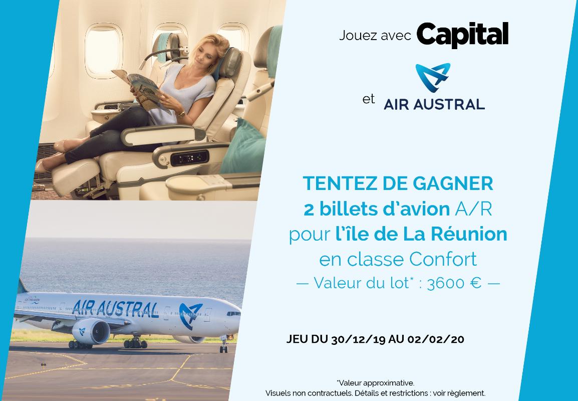 Code promo Capital : 2 billets d'avion A/R Air Austral pour La Réunion en classe Confort