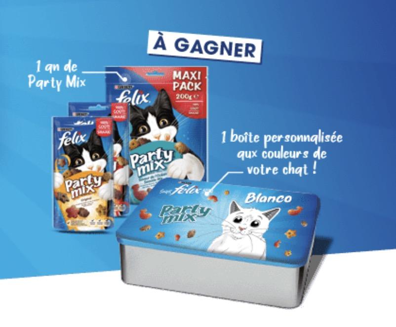 """Code promo Purina : 1 an de croquettes """"Party Mix"""" Felix pour chat à gagner"""