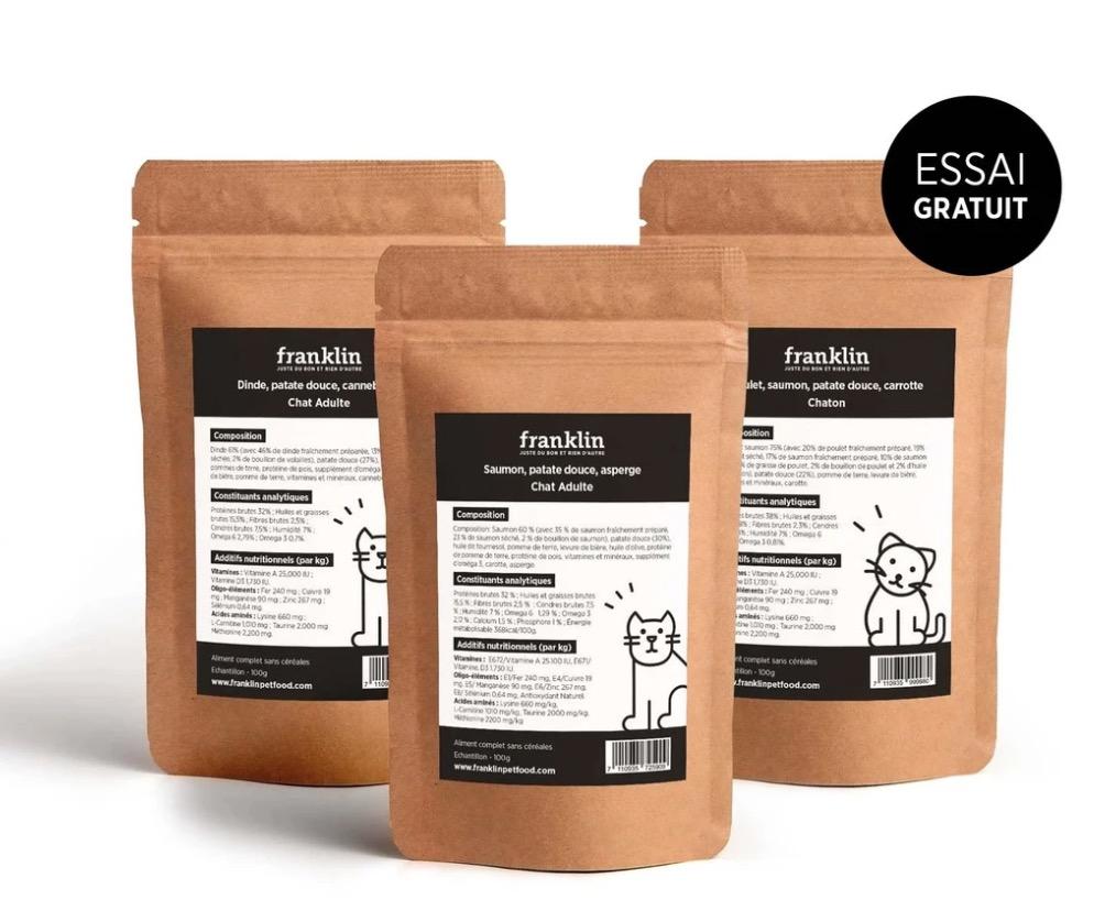 Code promo Franklin : Echantillons au choix gratuit d'alimentation pour chat ou chien