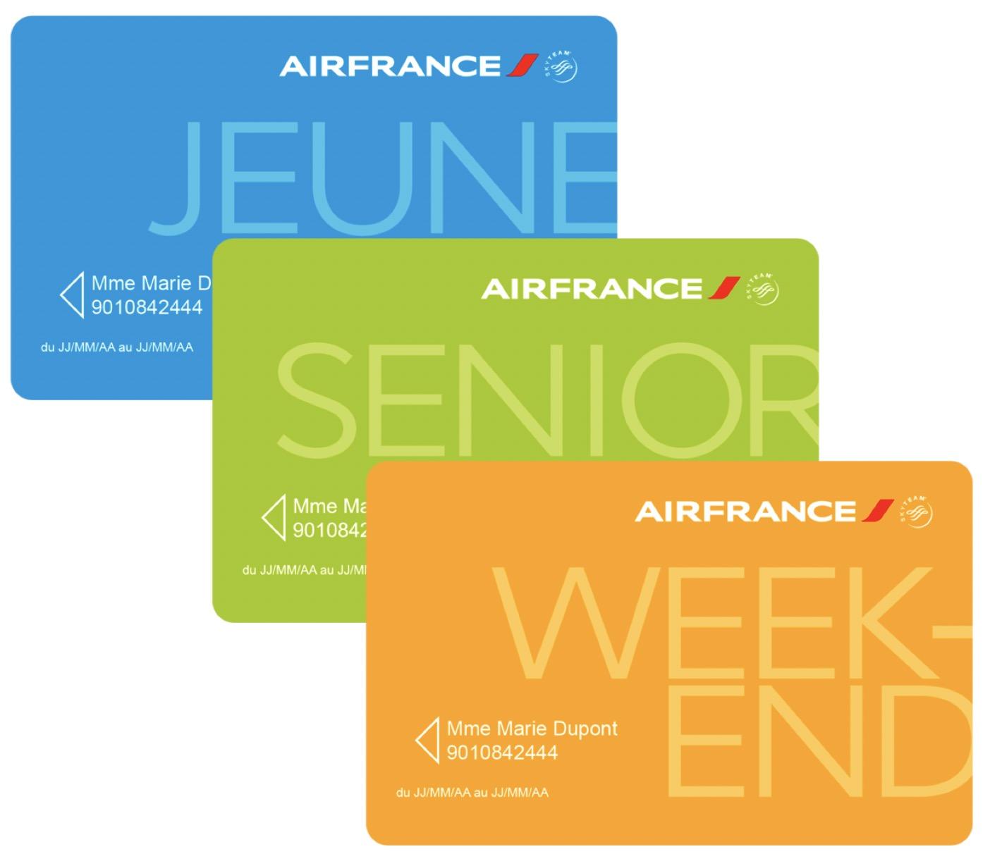 Code promo Air France : Cartes de réduction Air France Jeune, Senior ou Week-end à 29€