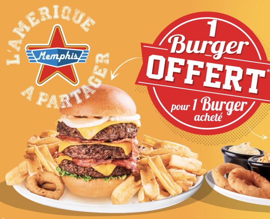 Code promo Memphis Coffee : 1 burger offert pour 1 burger acheté