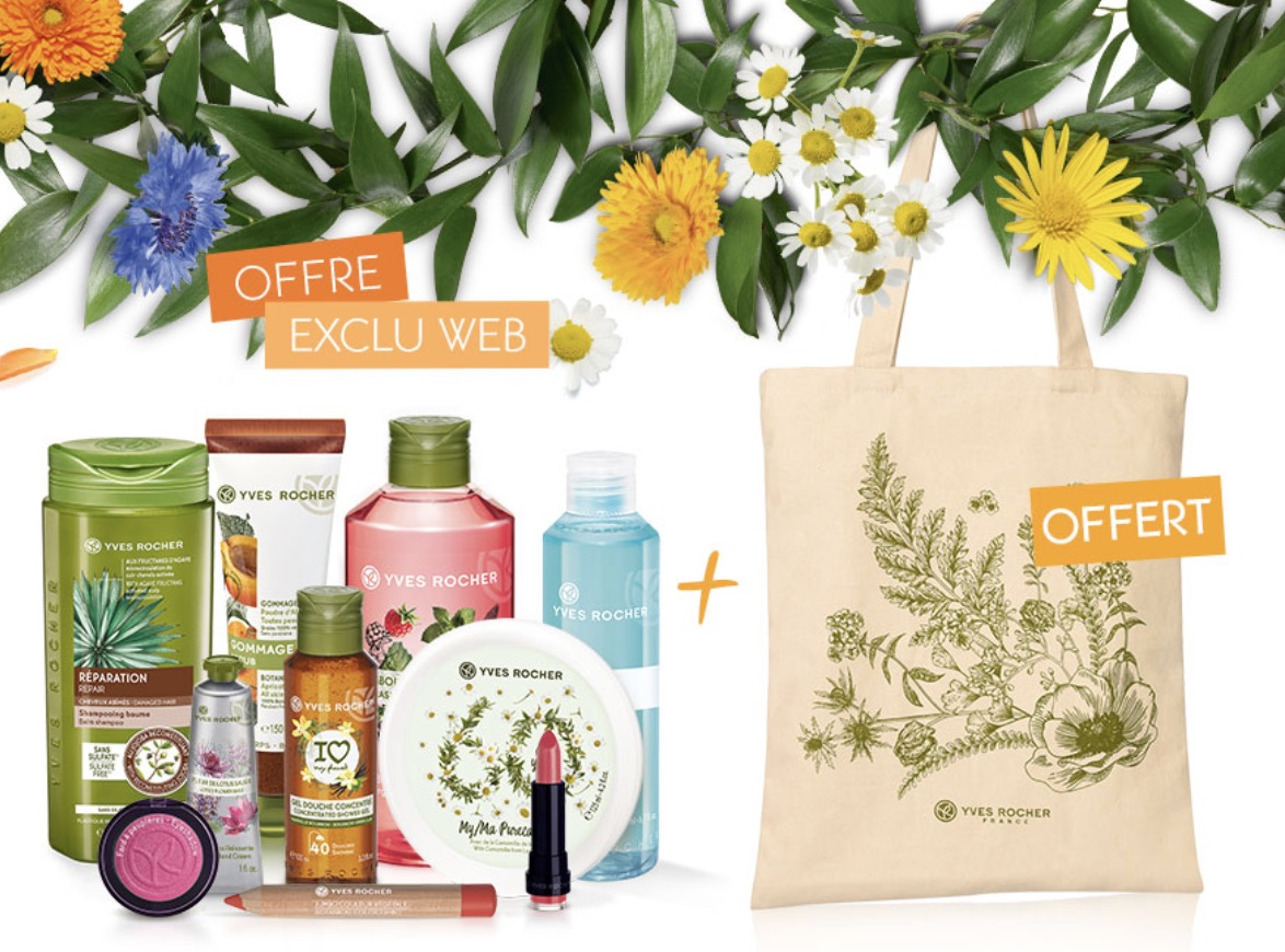 Code promo Yves Rocher : 5 produits au choix + 1 Totebag offert + la livraison gratuite pour 19,90€