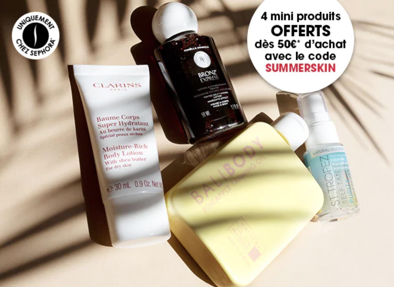 Code promo Sephora : 4 mini produits offerts dès 50€ d'achat