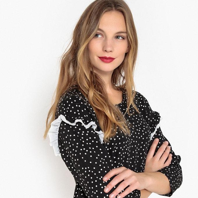 Code promo La Redoute : La robe droite imprimé à pois manches 3/4 à 12.50€