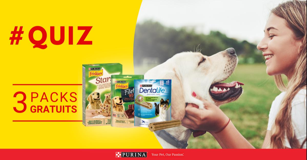 Code promo Purina : 3 packs gratuits de délicieuses friandises pour chiens à tester