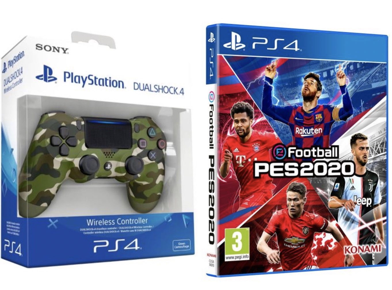 Code promo Fnac : Jeu PS4 eFootball PES 2020 + manette PS4 Sony Dual Shock 4 Green Camo pour 64,99€