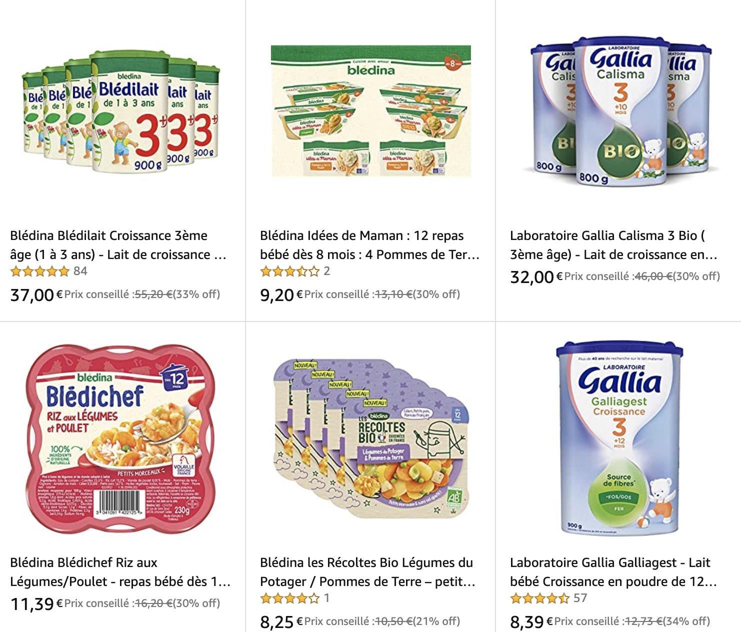 Code promo Amazon : Laboratoire Gallia et Blédina: -30% sur l'alimentation bébé