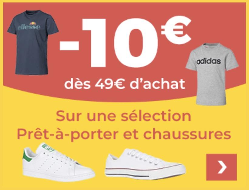 Code promo Cdiscount : -10€ dès 49€ d'achat sur une sélection d'articles de mode Adidas, Converse, Nike, etc