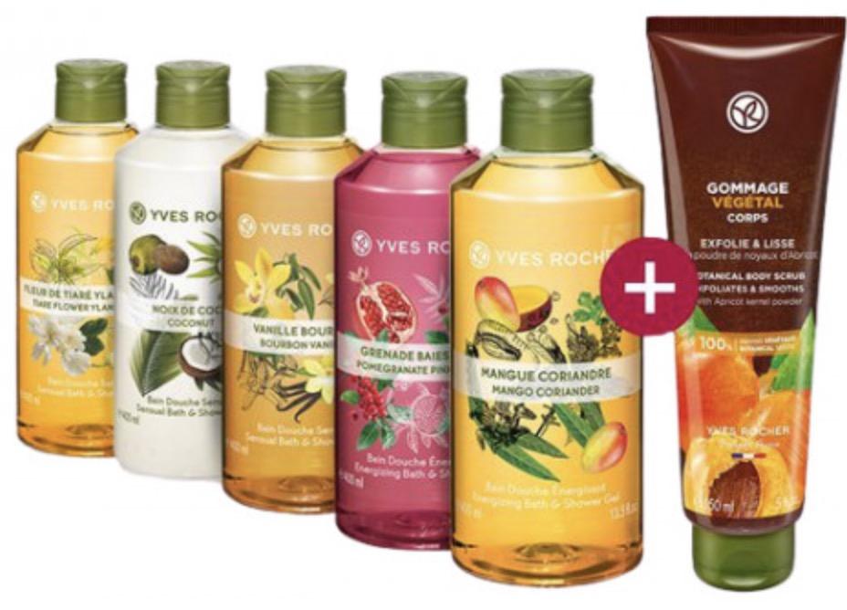 Code promo Yves Rocher : Lot de 5 gels douche + 1 gommage végétal pour 15€ livraison comprise