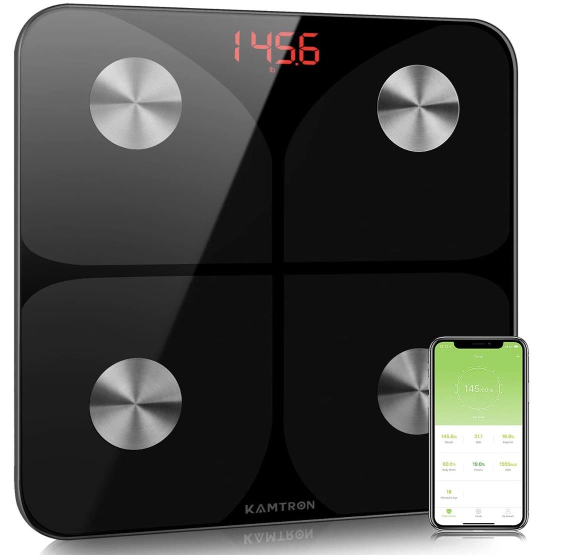 Code promo Amazon : Balance / pèse personne connectée KAMTRON pour iOS et Android à 26,34€