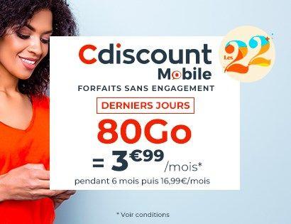 Code promo Cdiscount Mobile : Forfait Mobile illimité + 80 Go à 3,99€/mois pendant 6 mois et sans engagement