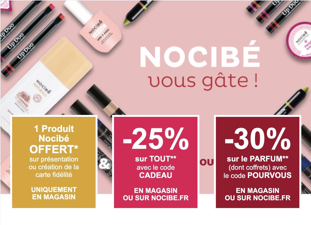 Code promo Nocibé : 1 produit offert en magasin sur présentation de la carte de fidélité