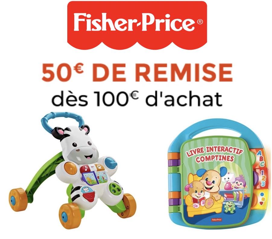 Code promo Cdiscount : 50€ de remise pour 100€ d'achat Fisher Price et Mega bloks
