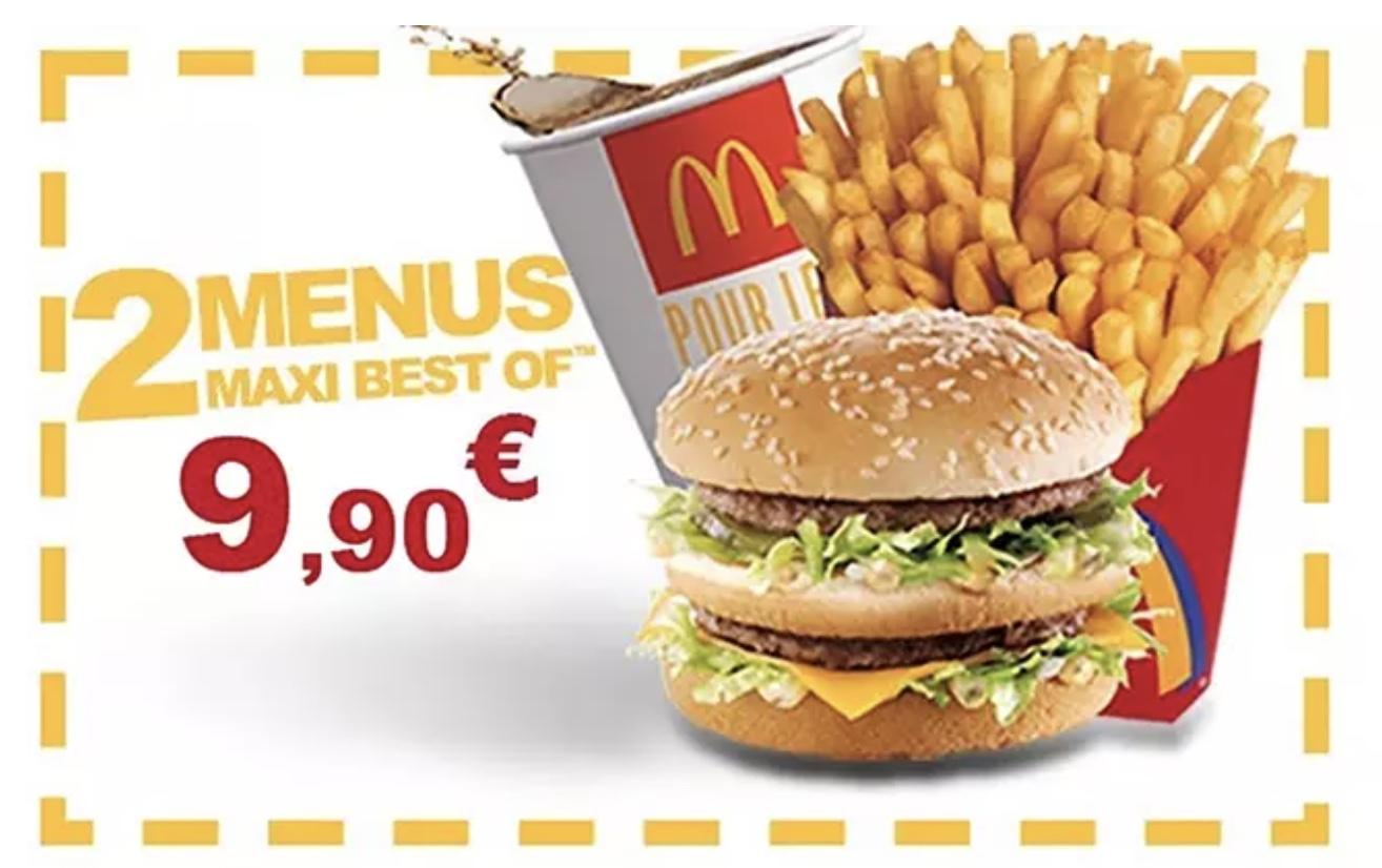 Code promo Groupon : Payez 1€ le bon offrant 2 menus Maxi Best Of à 9,90€ à emporter et/ou au drive