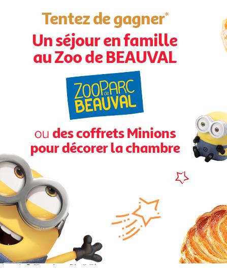 Code promo Auchan : 4 week-end pour 4 au Zoo de Beauval ou 32 coffrets d'accessoires à l'effigie des Minions à gagner