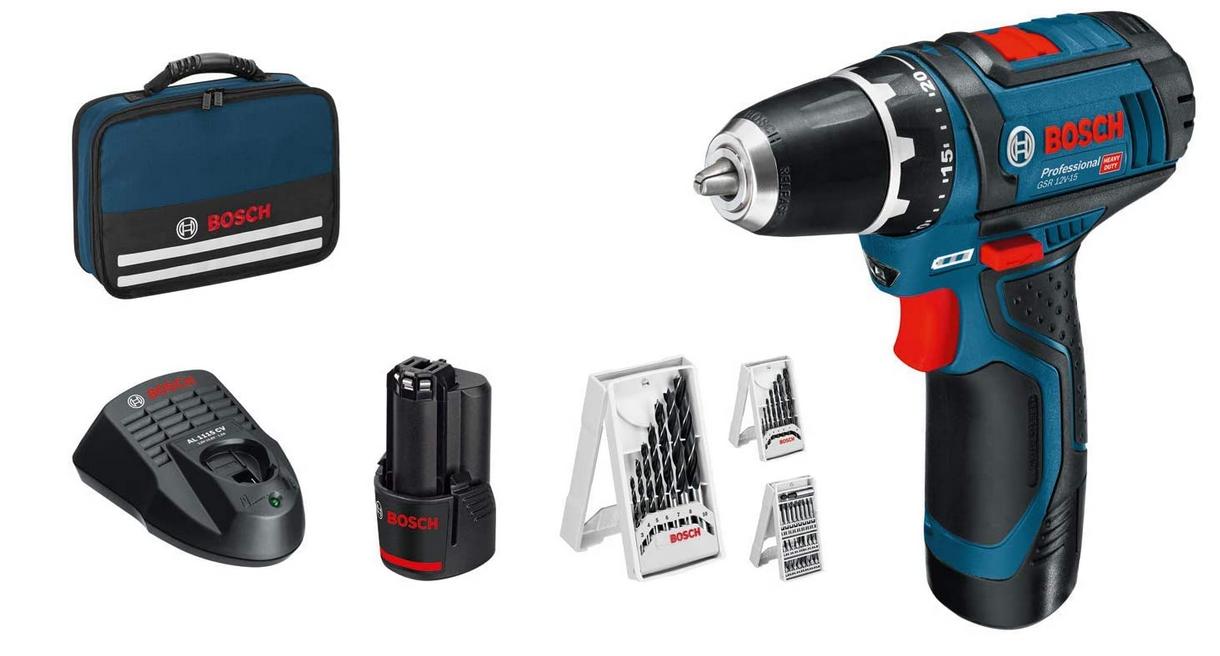 Code promo Amazon : Perceuse-visseuse sans Fil Bosch Professional GSR 12V-15 avec 39 pcs. set d'accessoires à 129€