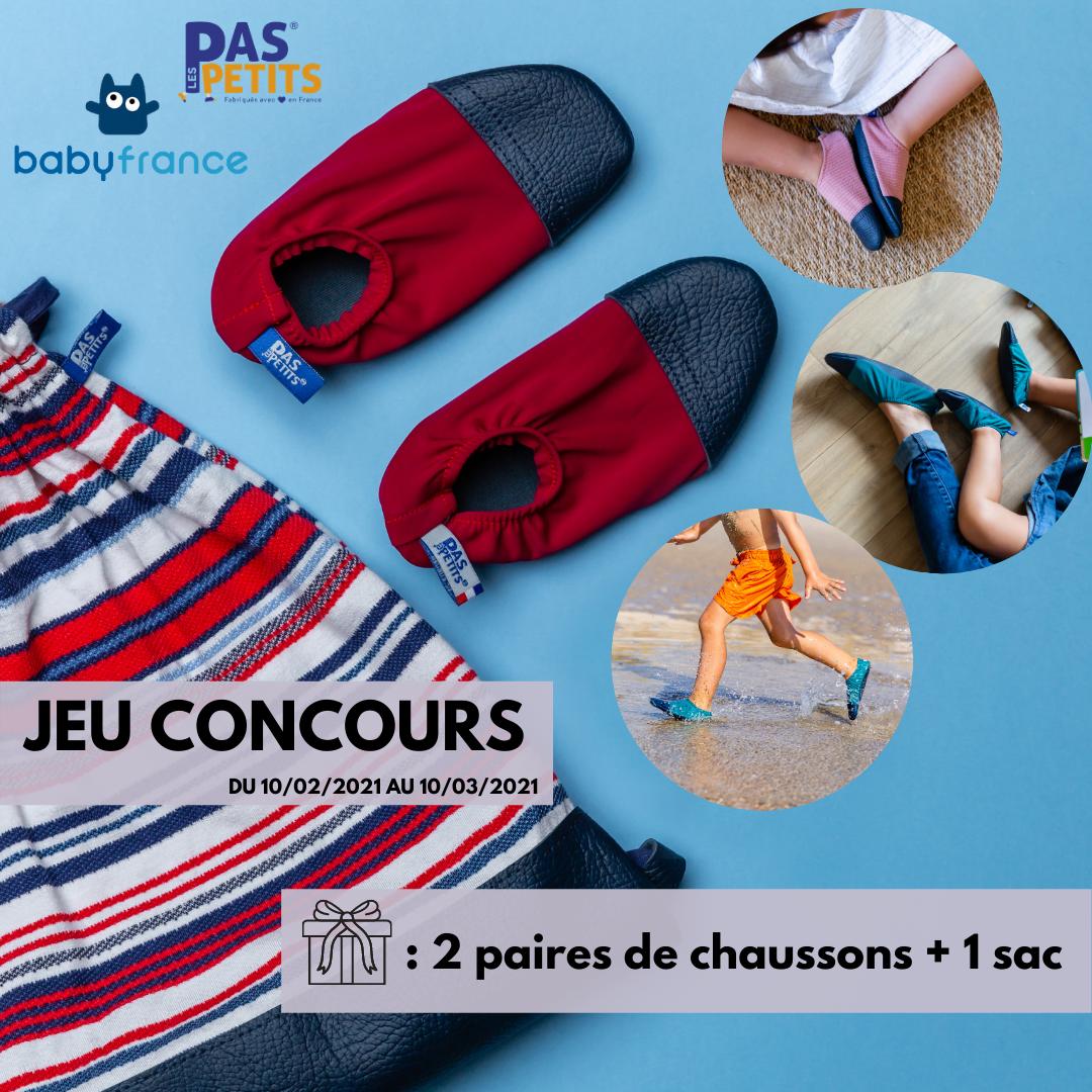 Code promo Babyfrance : 1 lot comportant 2 paires de chaussons enfant Les Pas Petits + 1 sac à gagner