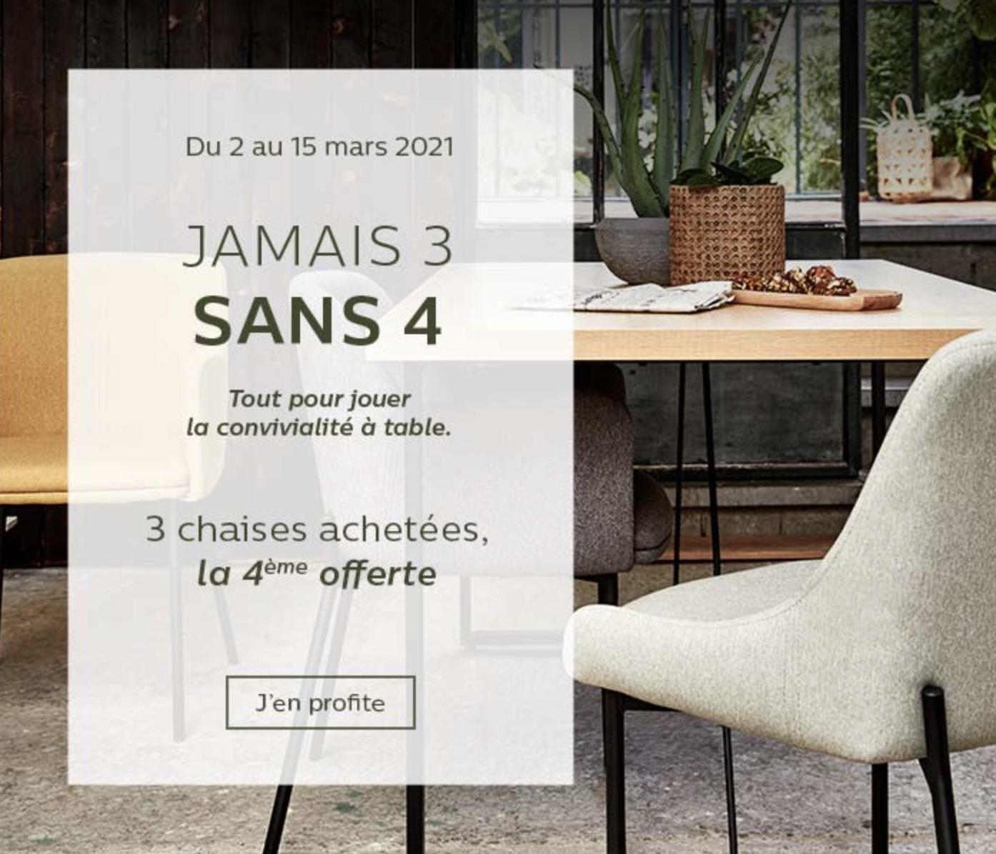 Code promo Alinéa : 3 chaises achetées = la 4ème offerte