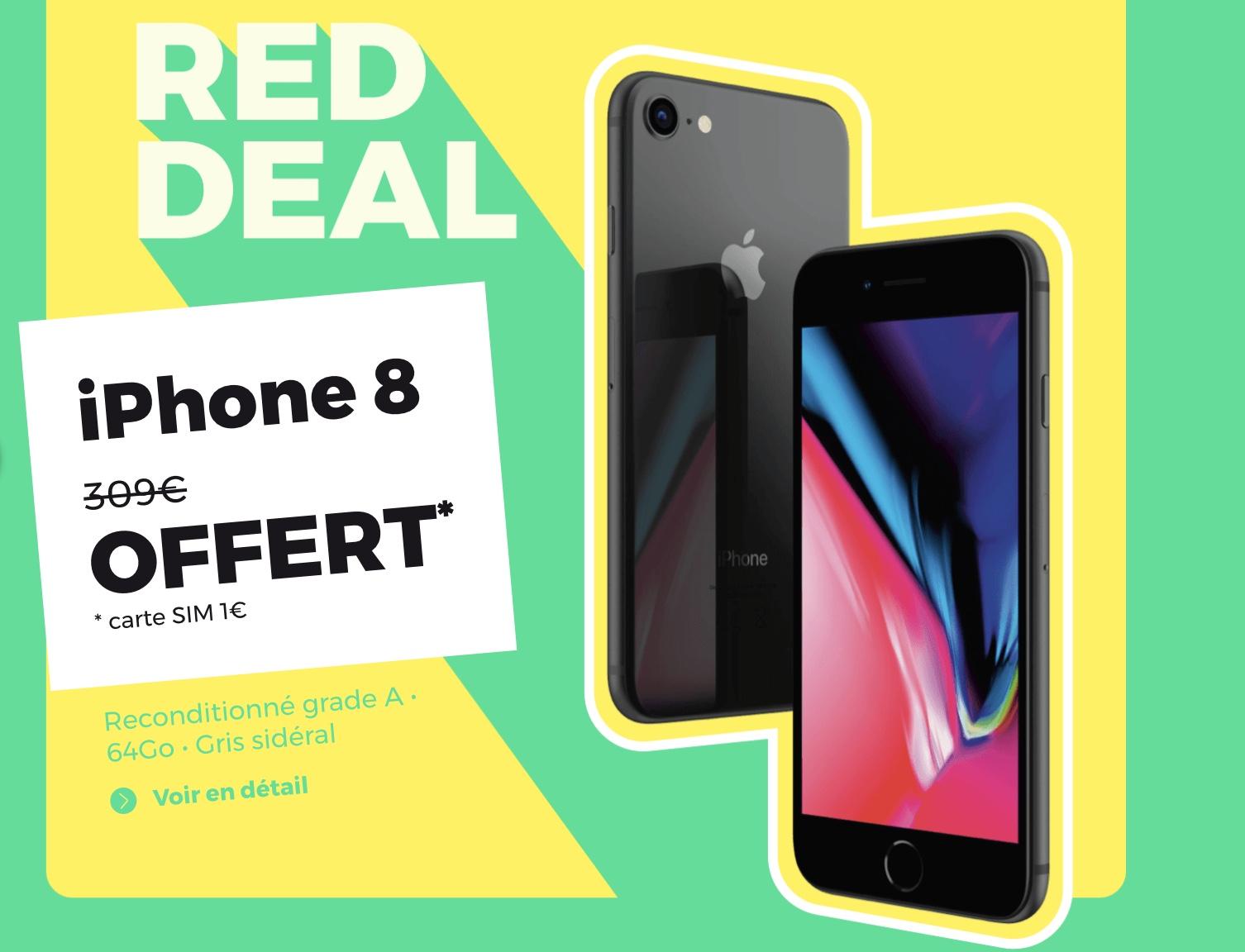 Code promo RED by SFR : Un iPhone 8 offert pour toute souscription à un forfait mobile illimité + 100Go à 15€/mois