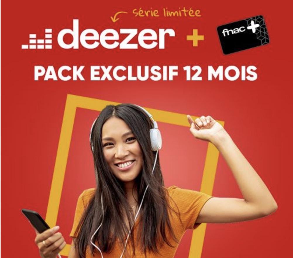Code promo Fnac : Carte Fnac+ et abonnement Deezer Premium 12 mois à 60€