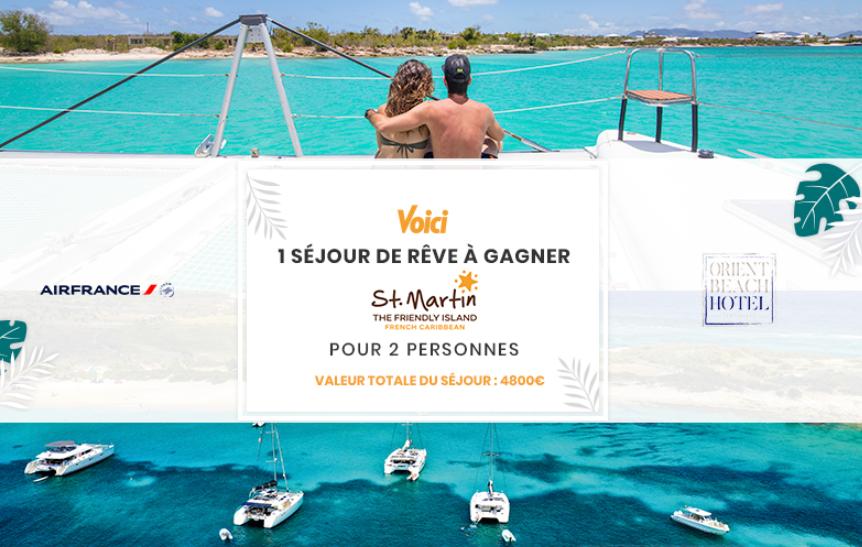 Code promo Voici : 1 voyage d'une semaine pour 2 personnes à Saint-Martin à gagner