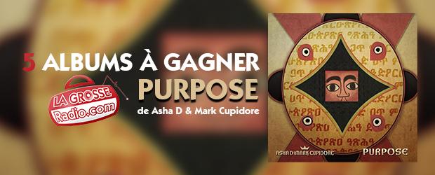 Code promo La Grosse Radio : 5 albums CD Purpose de Asha D & Mark Cupidore à gagner