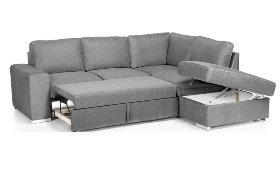 Code promo Conforama : Canapé d'angle convertible 4 places en tissu Murphy, Gris clair à 598€