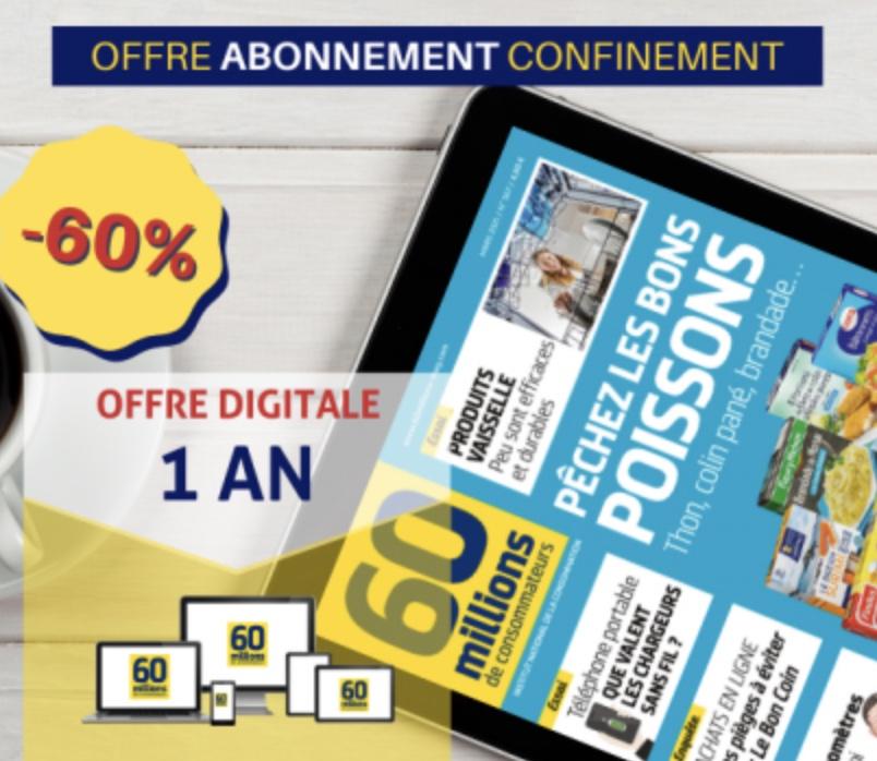 Code promo 60 Millions de Consommateurs : Abonnement numérique d'an (11 numéros + numéro spécial impôts) à 23,80€