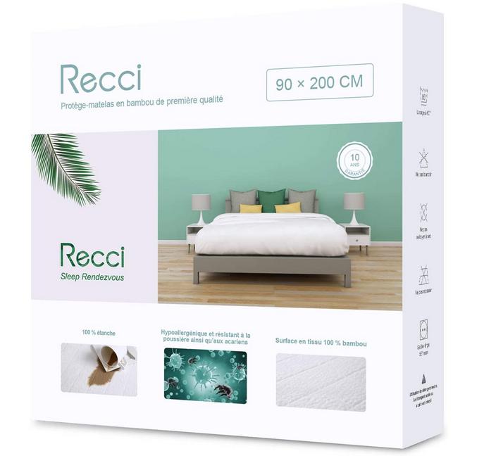 Code promo Amazon : Protège Matelas 90x190/200 cm RECCI - 100% Fibre de Bambou à 26,99€