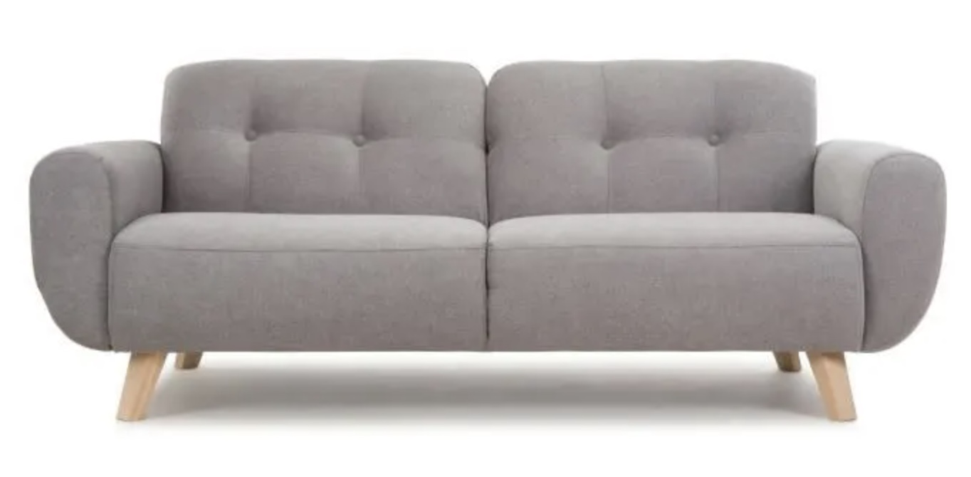 Code promo Cdiscount : Canapé Fixe 3 places Made in France. - HEXAGONE - MORA - Tissu Gris Clair à 399€