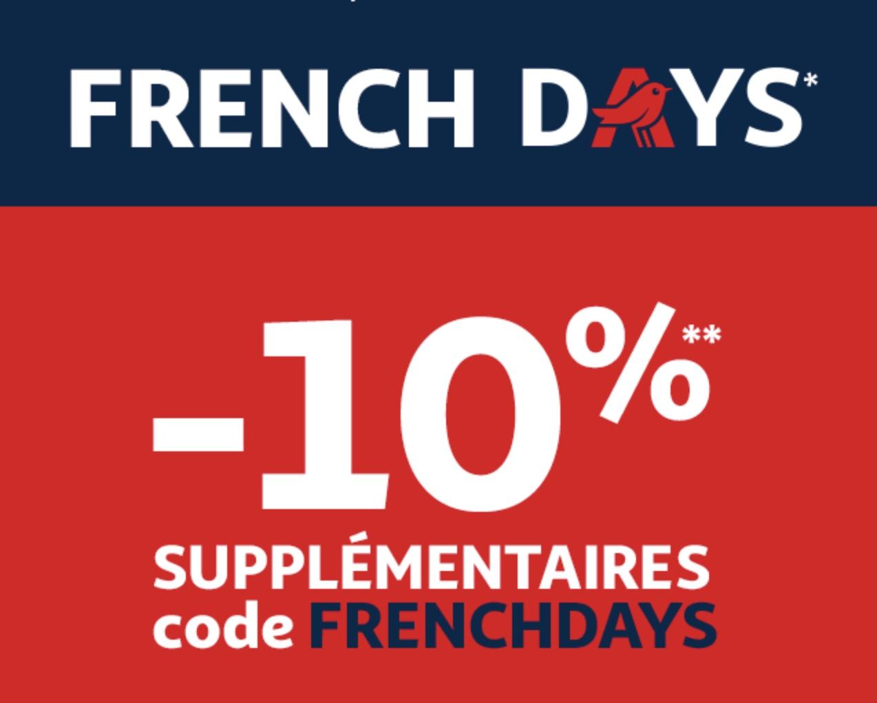 Code promo Auchan : -10% supplémentaires sur une sélection d'articles pour les French Days