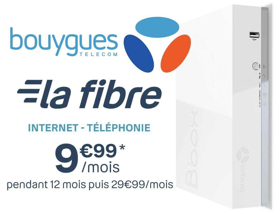 Code promo Bouygues Telecom : Abonnement Internet Bbox Fit Fibre + Téléphonie à 9,99€ par mois pendant 1 an