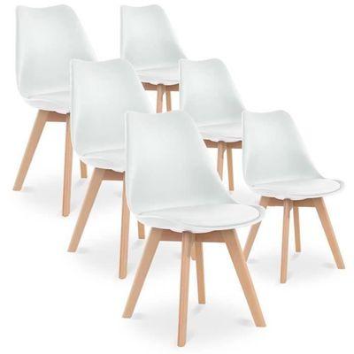 Code promo Cdiscount : Lot de 6 chaises Scandinaves Blanches avec Pieds bois à 109,99€