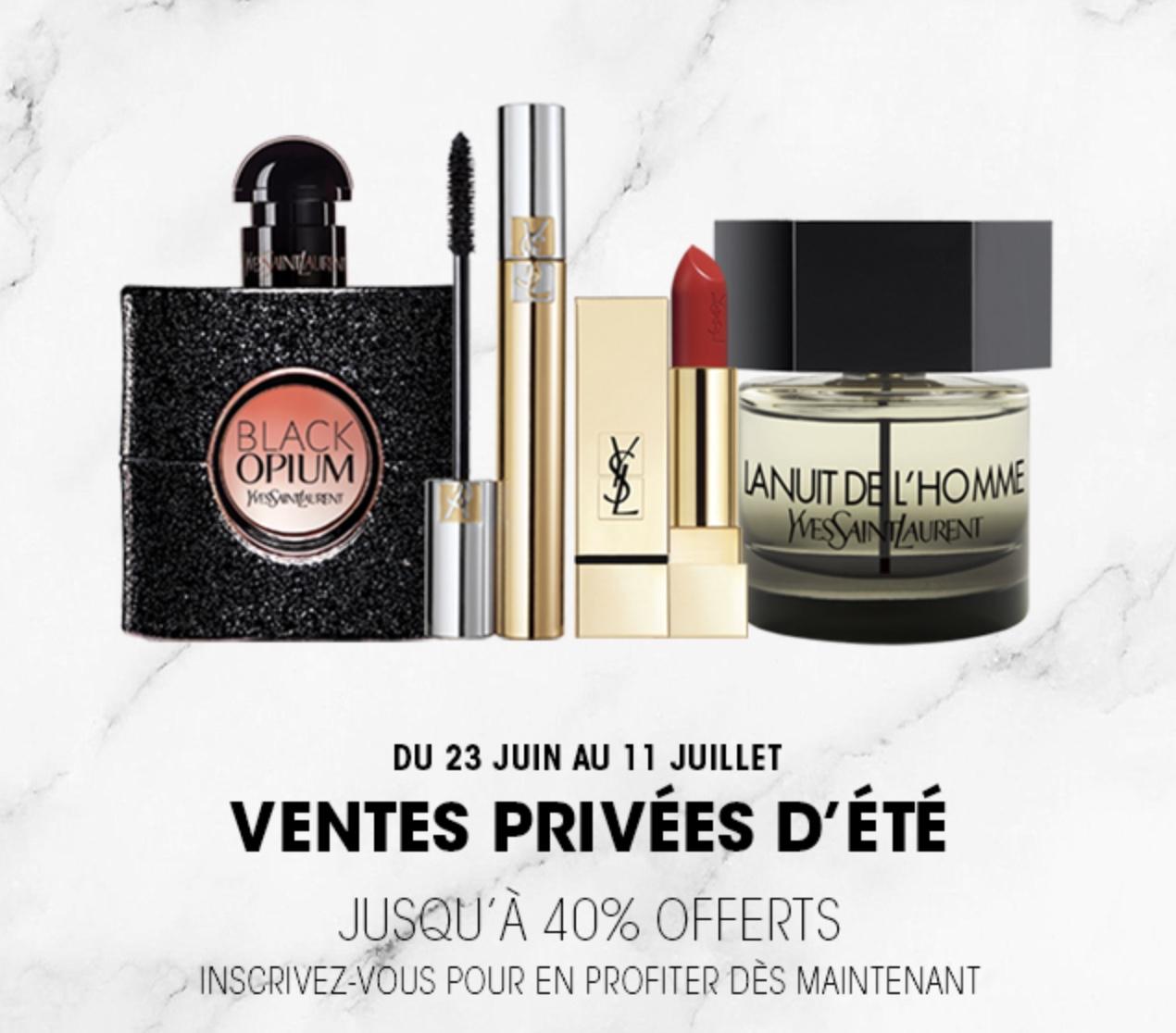 Code promo Yves Saint Laurent Beauté : [Ventes Privées] -20% offerts sur tout le site, -25% sur les coffrets parfums ou -30% dès 100€