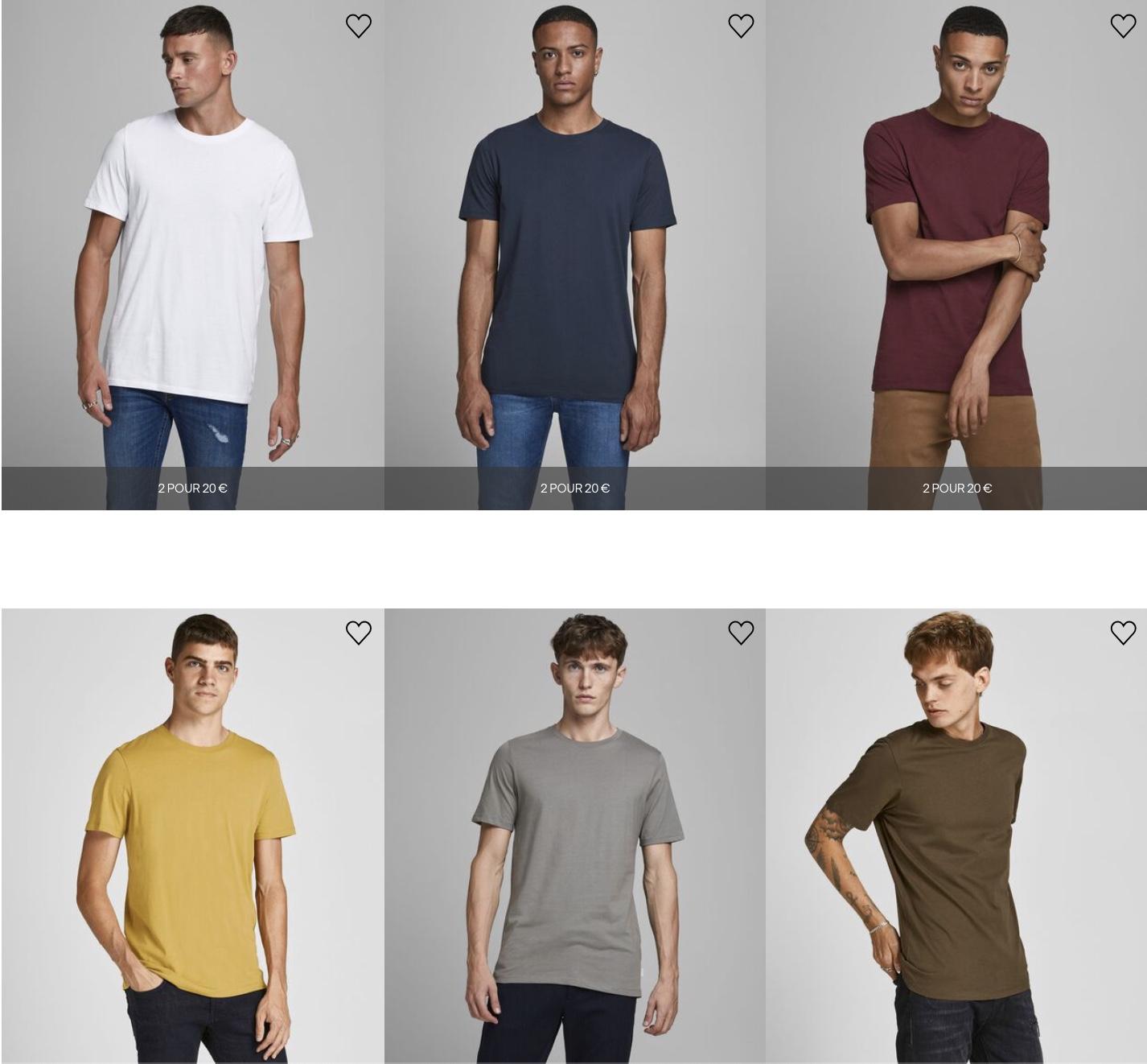 Code promo JACK & JONES : 2 t-shirts homme pour 20€