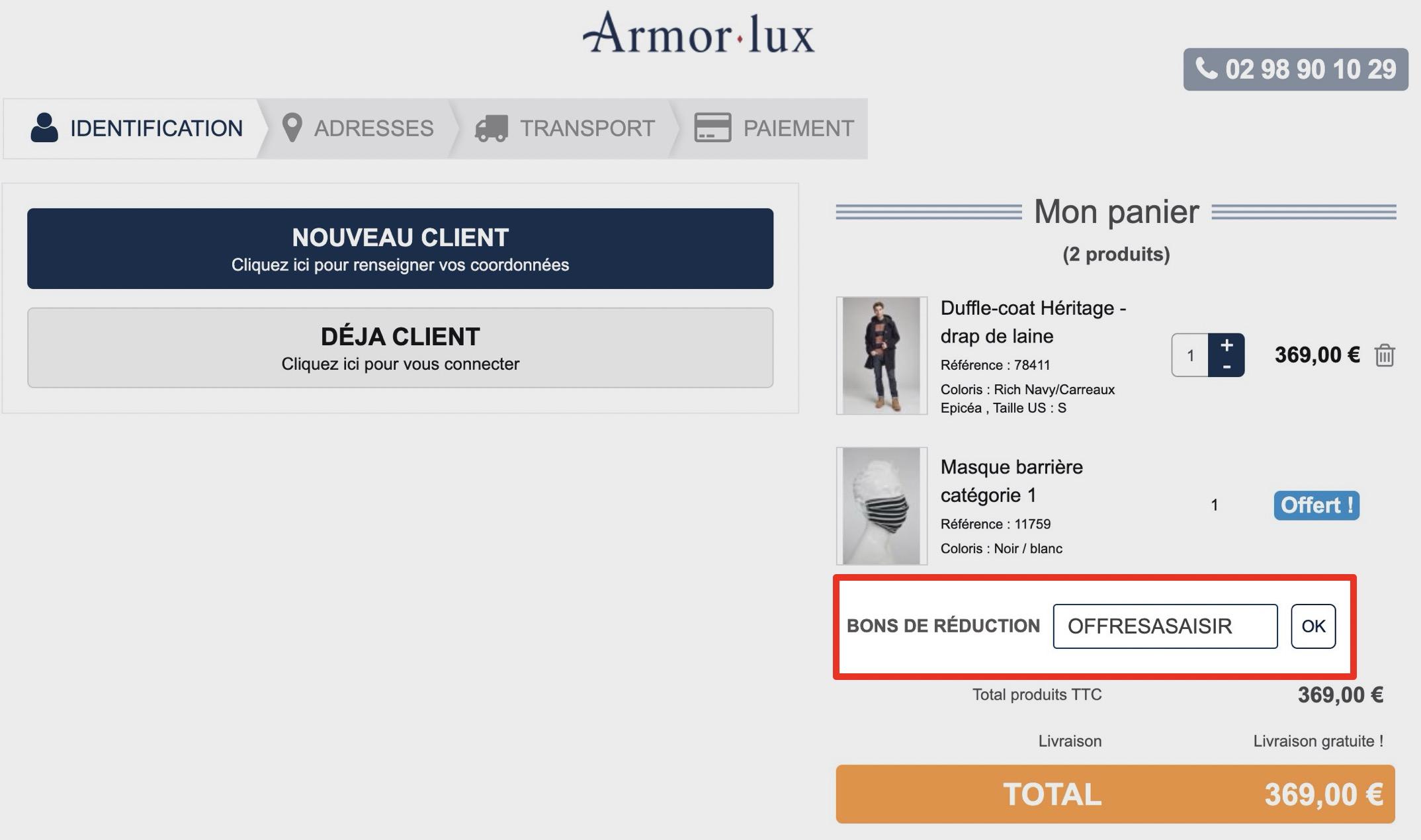 comment utiliser un code promo armor lux