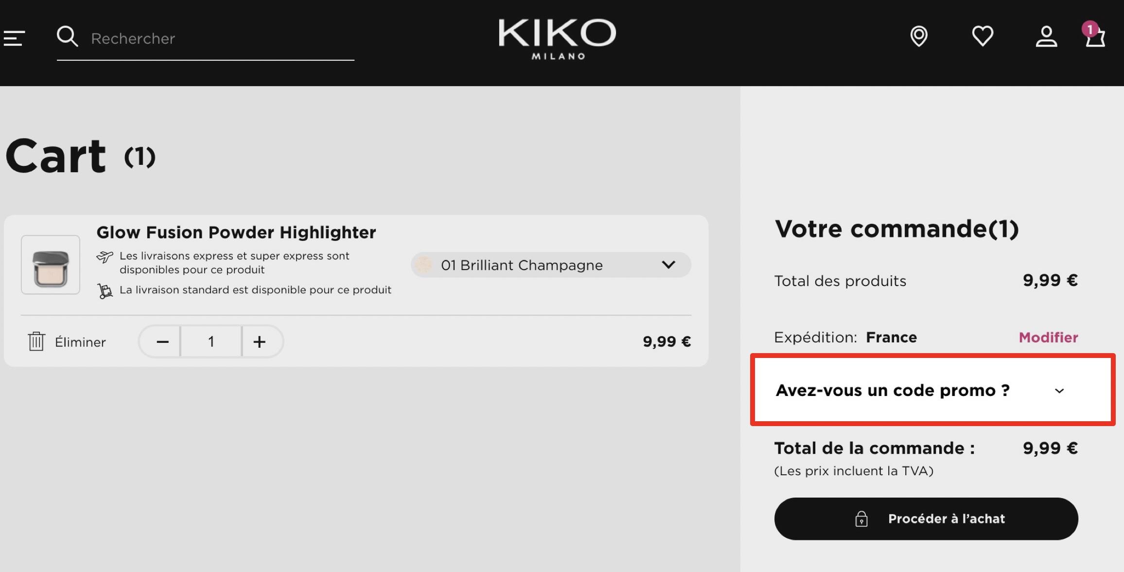 comment utiliser un code promo kiko