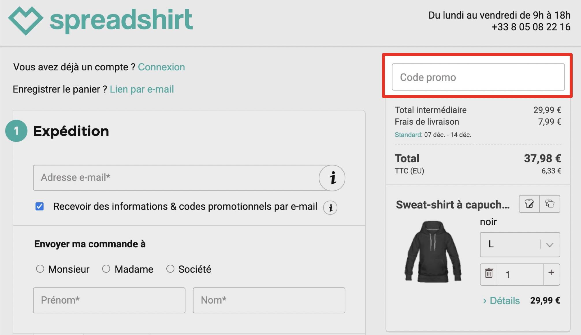 comment utiliser un code promo spreadshirt
