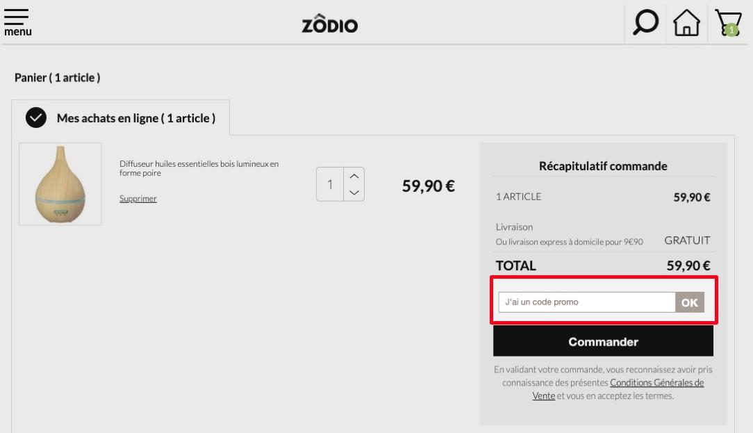 comment utiliser un code promo zodio
