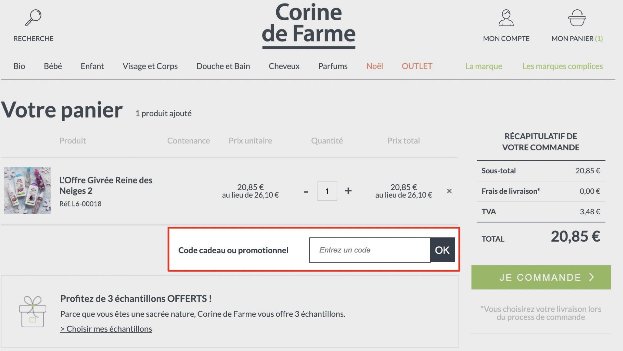 comment utiliser un code promo corine de farme